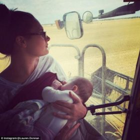 Where are YOU feeding today? Mothers post photos of themselves breastfeeding everywhere from a waterfall to a wheat harvester cab as part of a new viral trend